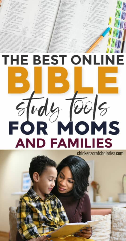Best online Bible study tools: mom studying Bible with son