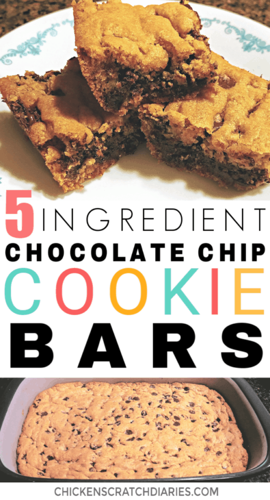 Easy chocolate chip cookie bar recipe- only 5 ingredients! #Cookies #Baking #Desserts #Simple #Recipe