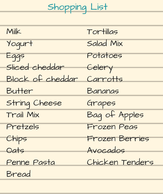 Shopping List Sample