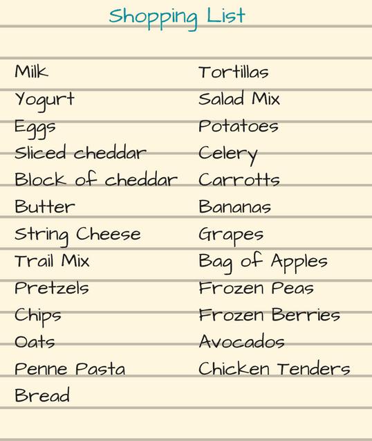 Shopping List Sample