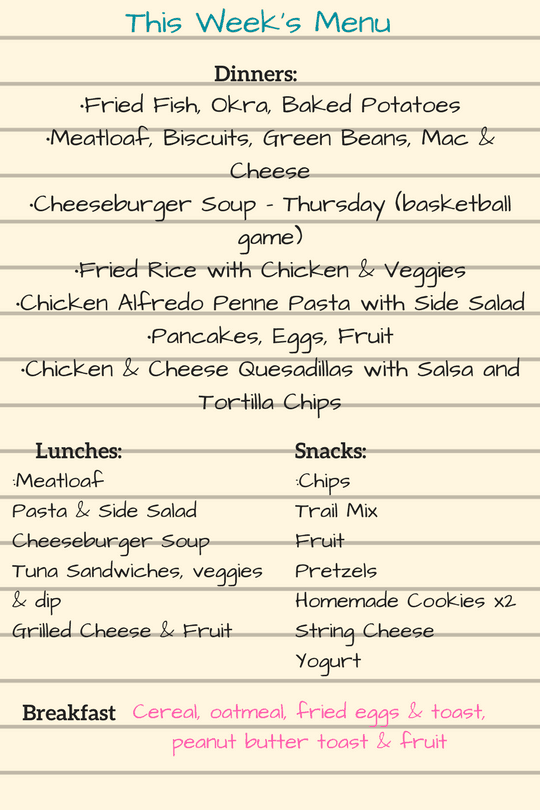 Complete weekly Menu example