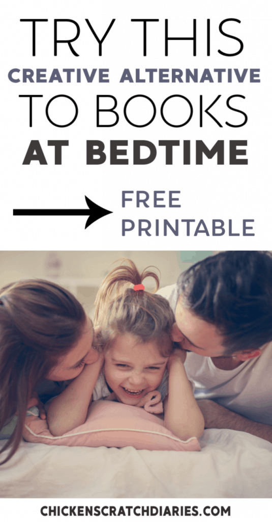 Bedtime routines and night rituals: tips for preschoolers and young kids who love books - without the books. Free printable storytime prompts. #Printables #PrintablesForKids #Bedtime #Preschoolers #ParentingTips