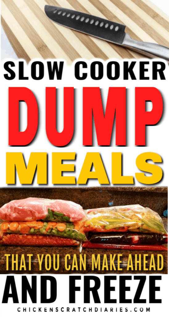 Image with text: slow cooker dump meals that you can make ahead and freeze