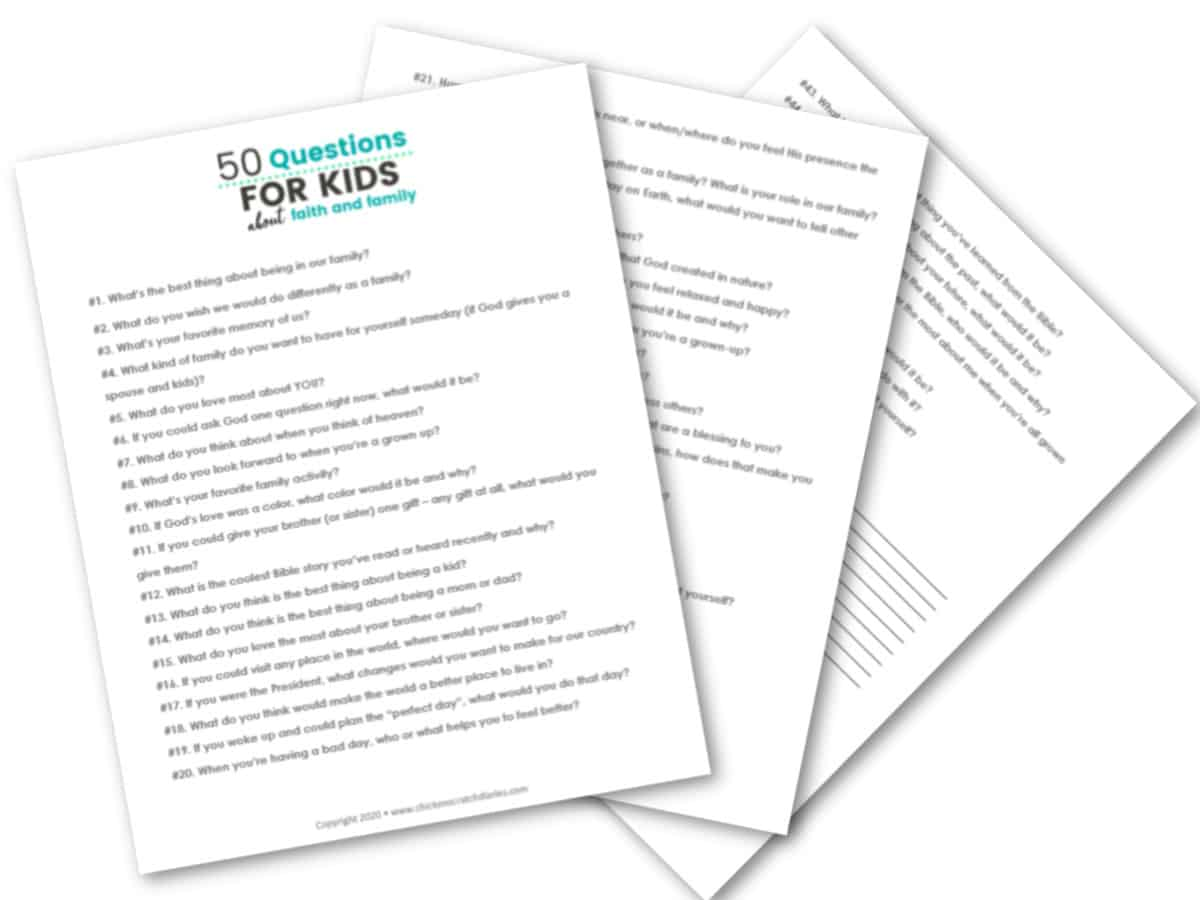 Free printable 50 questions for kids