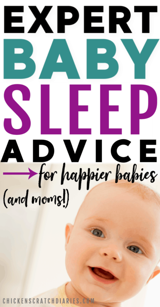Image of smiling baby with text: Expert baby sleep advice for happier babies and moms