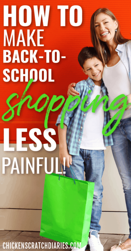 Back to School Budget Tips: Image of mom and son shopping