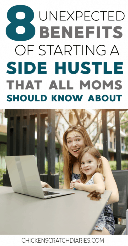 There are a multitude of side hustles that moms can do from home these days. These are the added benefits you may not realize. (Hint: you'll wish you had started sooner.) #SideHustle #Workathome #WorkingMom #WorkOnline #MakeMoneyOnline