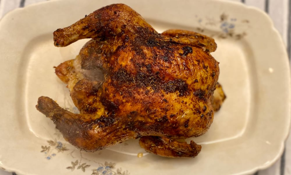 simple whole oven roasted chicken
