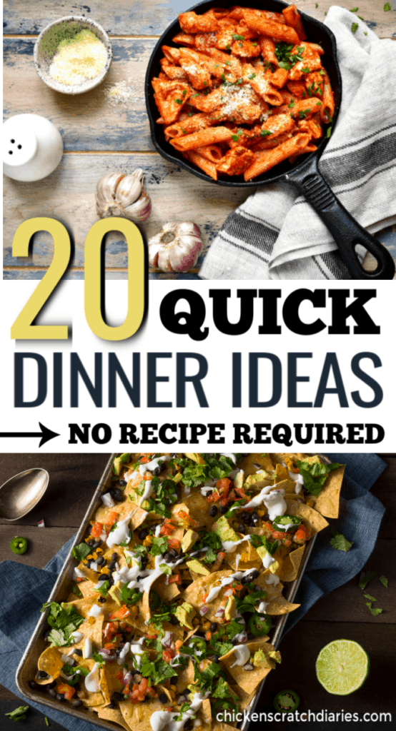 Quick dinner recipes that are healthy and easy and don't actually require a recipe! 20 dinner ideas that you can customize to fit your family. Kid friendly meals for the win. #Dinner #Ideas #Recipes #Easy