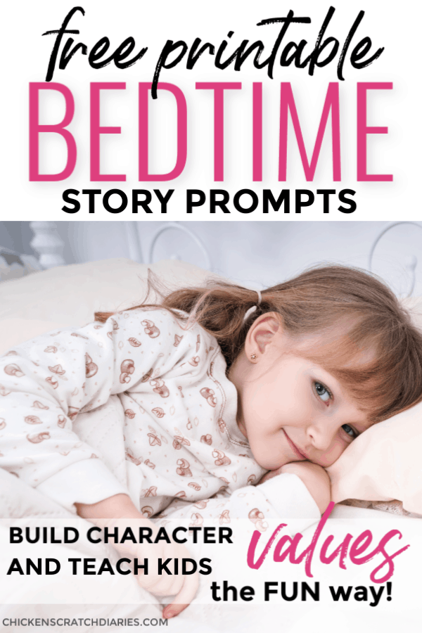 Image of little girl at bedtime with text: Free printable bedtime story prompts