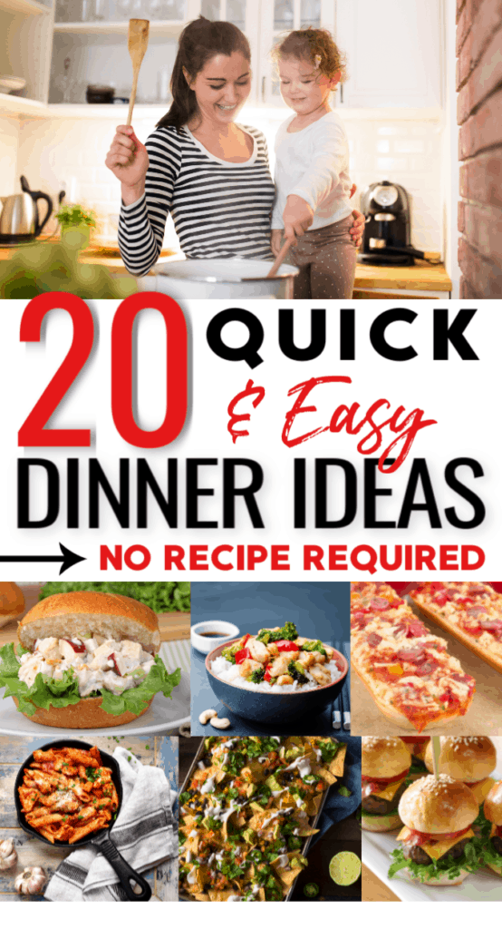 Quick and easy dinner ideas for the family. No recipe required! #Dinner #Ideas #Recipes #Easy #FamilyMeals