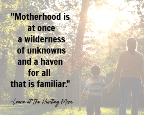 Quotes on being a mom: graphic: Leann, the Hunting Mom