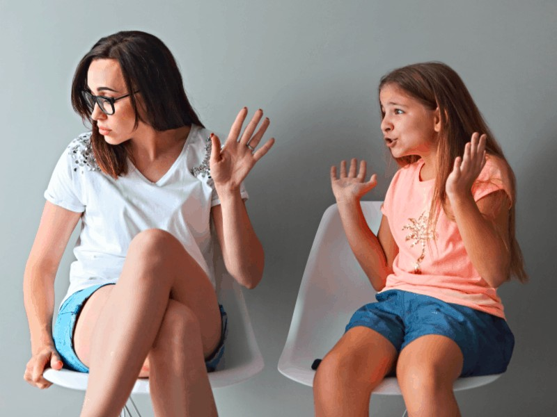 Image: mother and daughter- talking back behavior