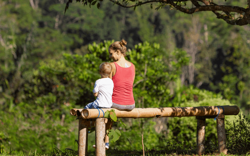 Creating one on one time with your child: image of mom with son in nature