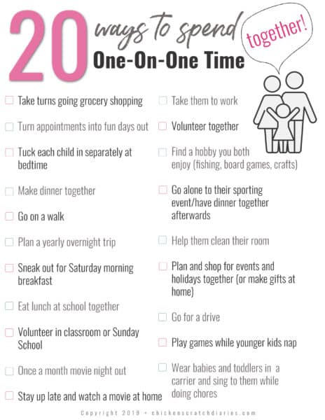 ideas for one on one time with kids