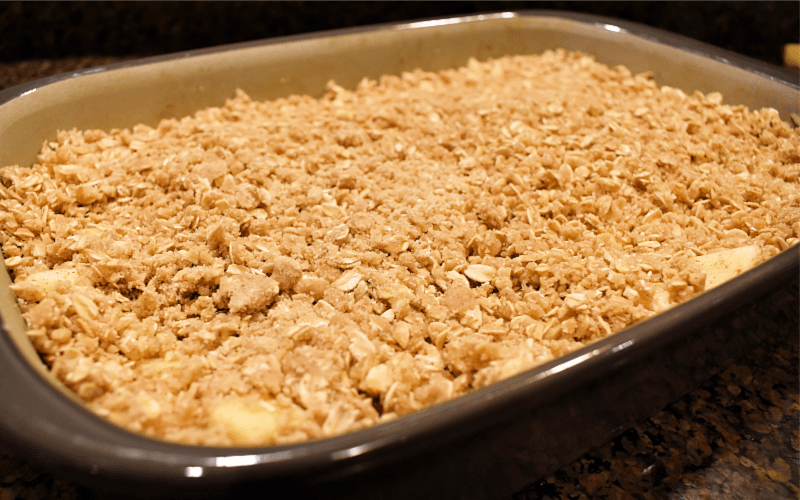 Apple crisp recipe: image of dish ready to bake