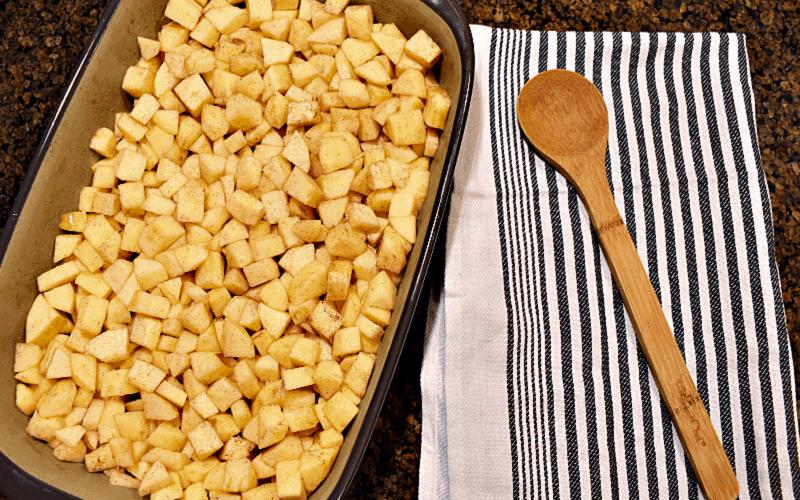 Apple crisp recipe: image of diced apples in baking dish