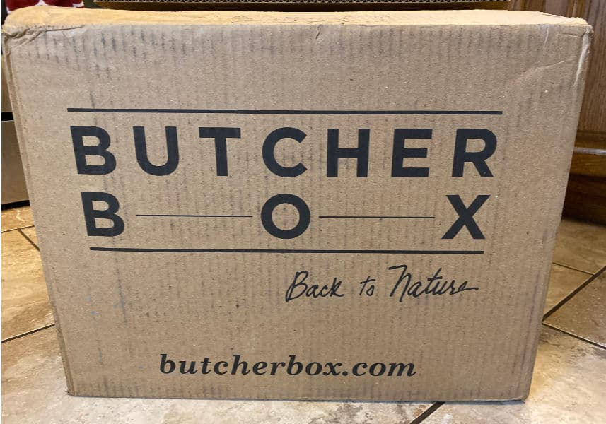 Butcherbox review- shipping box - image of example of shipping box