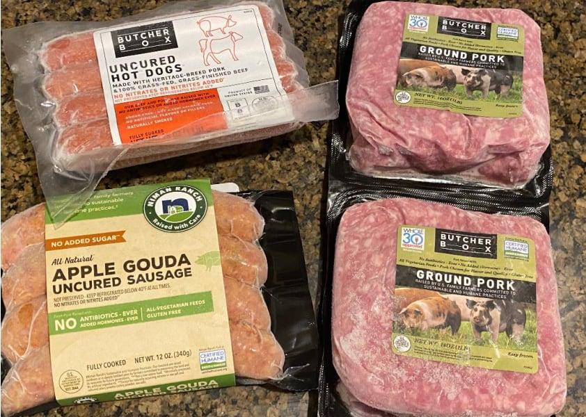 butcherbox hot dogs, ground pork and apple gouda sausage image