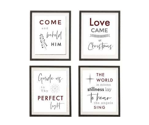 christmas hymn printables-grid