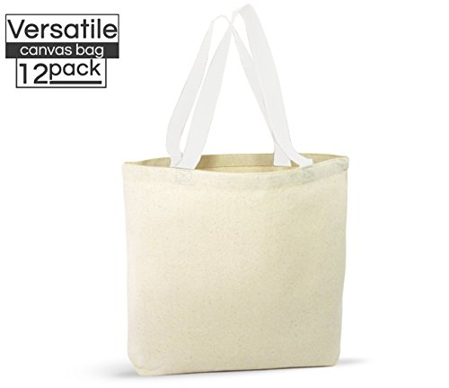 12 Pack Canvas Tote Bags