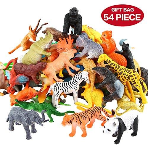 Animals Figure,54 Piece Mini Jungle Set