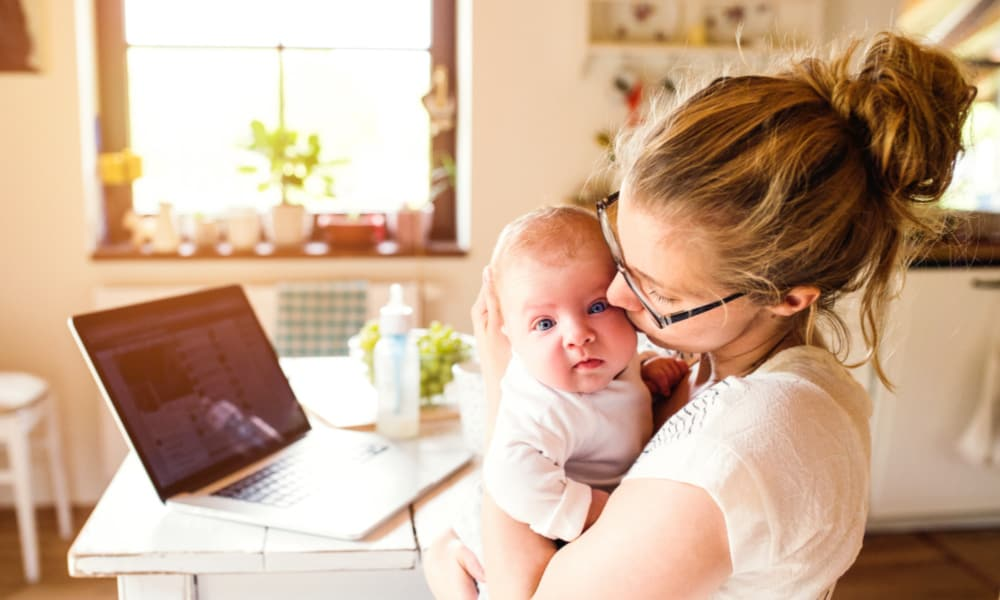 Mom with baby at home-productivity tips