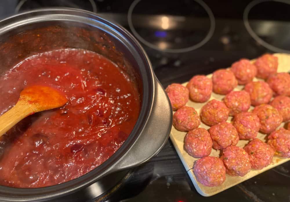 meatball prep and sauce mixture