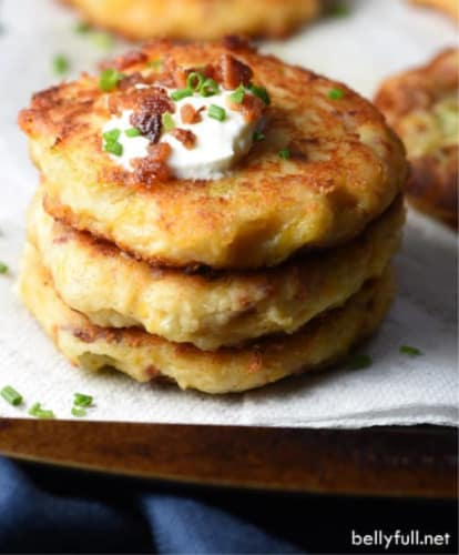 cheap lunch idea for kids: loaded mashed potato cakes