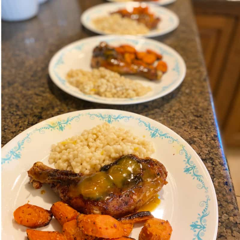 EveryPlate Review-Apricot Dijon Chicken legs meal