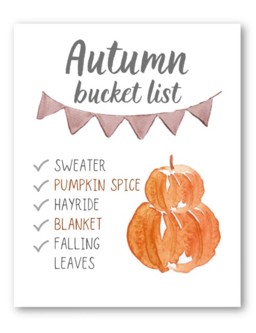 autumn bucket list fall printable
