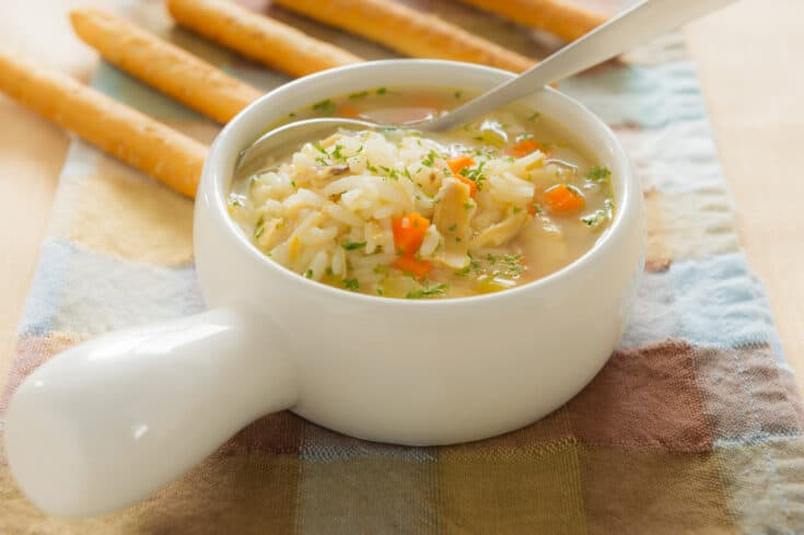 image of bowl of turkey and rice soup