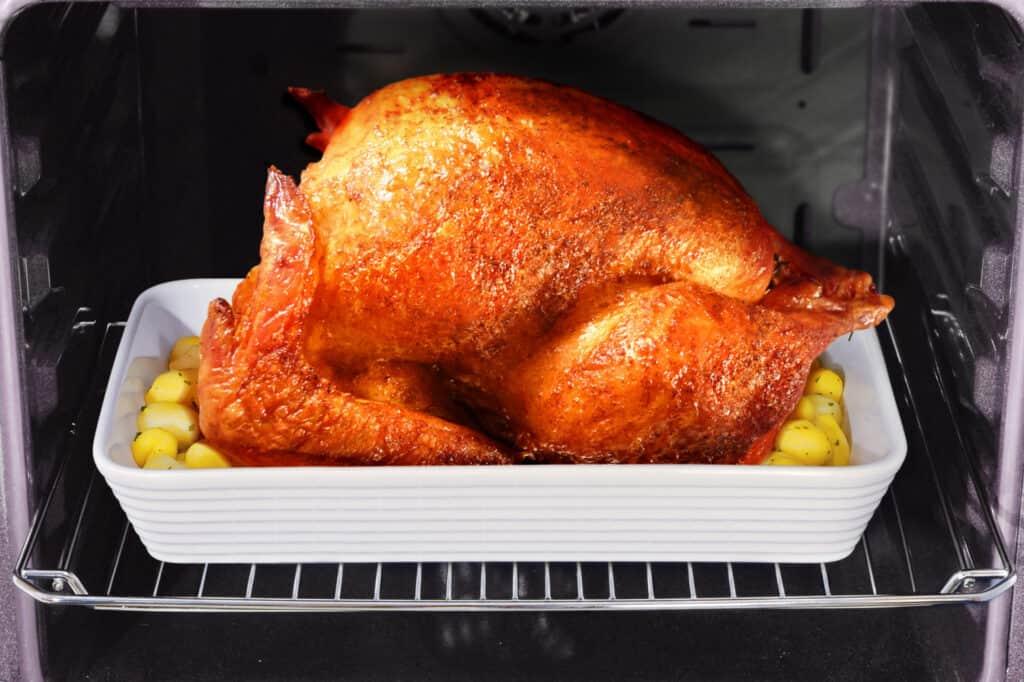 roasted turkey in oven