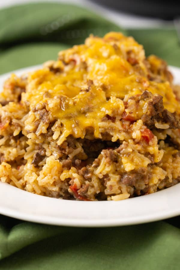 frugal ground beef and rice dinner