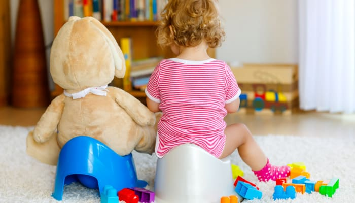 2 year old girl potty training in living room
