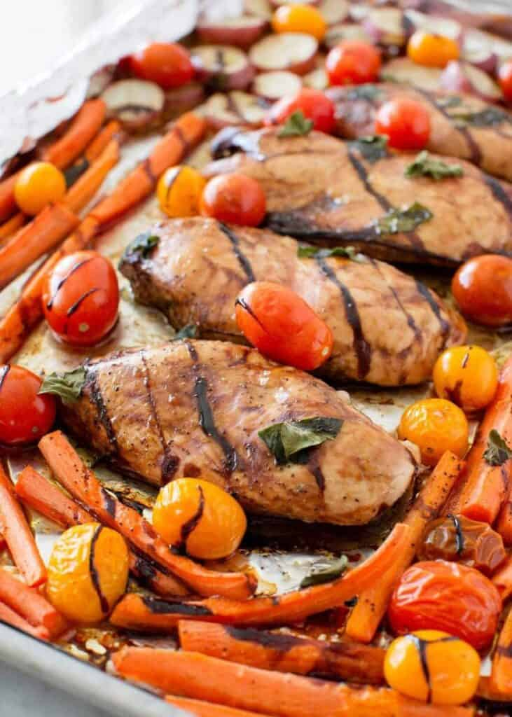 balsamic chicken and veggies- freezer friendly travel meal