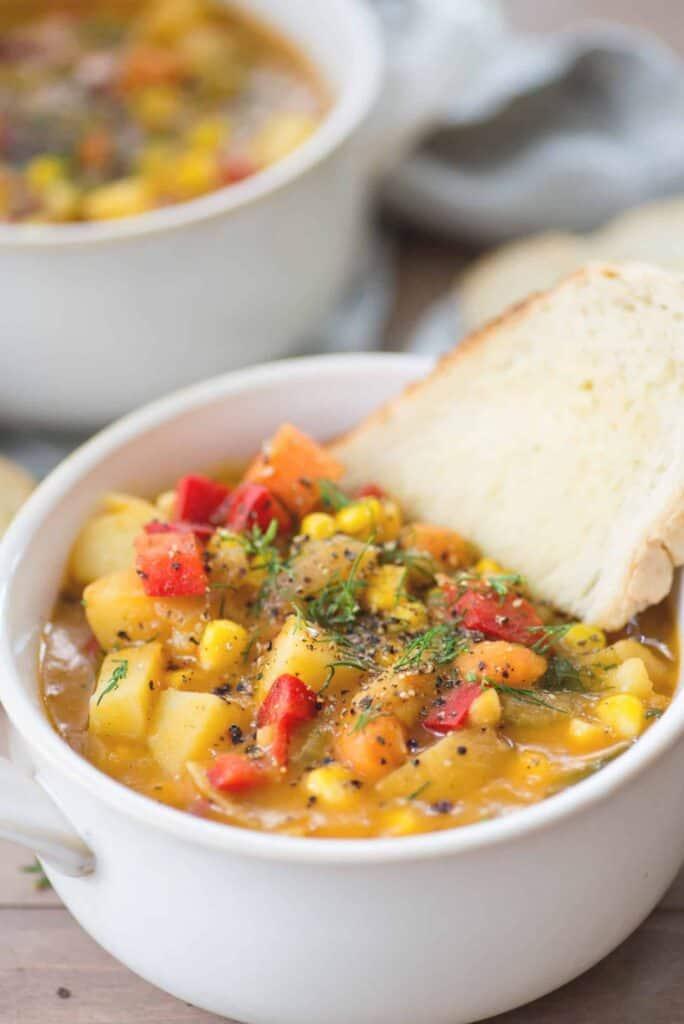 Veggie potato chowder for the freezer