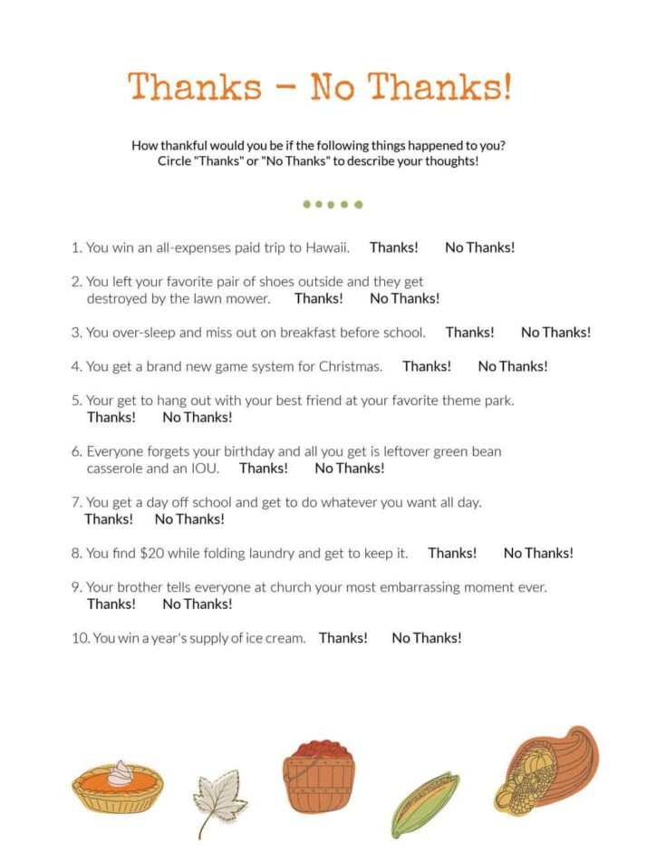 Bible lesson on being thankful-activity